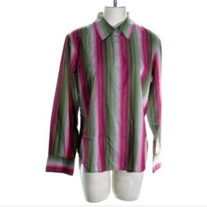 Talbots Petite Womens Large Long Sleeve Blouse Top